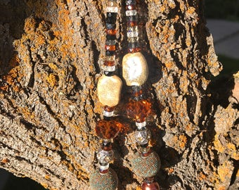 Handmade Earthtone beaded necklace,beads from Czeck Repuplic. Very sparckly!!!