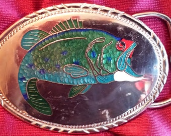 Very Cool, Vintage Silver (not sure of metal) Bass Fish Belt Buckle with Shell  & Stone Inlay that has Never Been Worn!