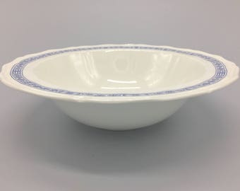 Kensington Staffordshire Ironstone vegetable bowl. English dishware. Blue and white dishes. Handcrafted bowls