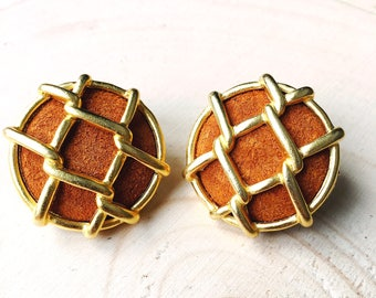 Vintage suede earrings- Unique 70's-80's round earrings with brown suede and a gold tone contour