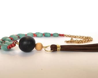 suede tassel necklace, wood, boho, teal and coral, handmade beaded jewelry
