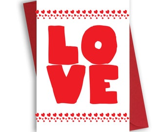 Valentine's Day Card with red envelope, valentine's card for him, for her, love