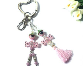 Couple Keychain Beaded Doll - Pink Tassel - Pink Couple Keychain - Valentine's Day Gift - Funny Gift - Cute Gift - Couple Set Gift