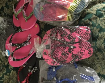 Hand designed flip flops to any color.