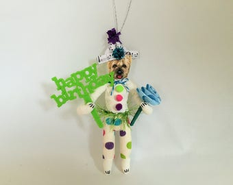 "Cairn Terrier BIRTHDAY spun cotton DOG Happy Birthday vintage style spun cotton BOY 6"" ornament"