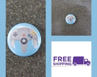 "1"" Nintendo N64 Controller Button Pin or Magnet, FREE SHIPPING & Coupon Codes"