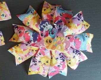 Handmade My Little Pony hair accessory, clip, hair bow, rosette.