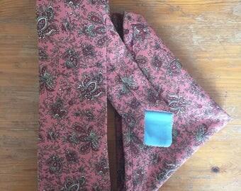 Tie and handkerchief set: Handmade, vintage style, skinny width,  paisley pattern print