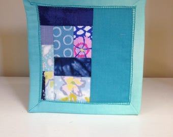 Blue Scrappy #9 Mug Rug Coaster Mini Quilt Wall Art Handmade Quilted