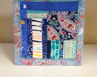 Blue Scrappy #12 Mug Rug Coaster Mini Quilt Wall Art Handmade Quilted