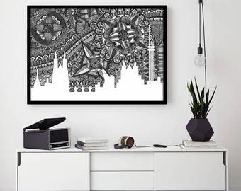 Prague Skyline, Black and White, Art, Home Decore, Print, Zentangle, Doodle, Czech Republic, Digital Illustration, City, Dancing House, Gift