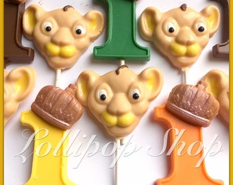 12 Lion King Chocolate lollipops (Birthday, party favors, Chocolate lollipops, lion candy, Lion guard party favors)