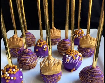12 Purple and Gold Arabian nights Princess Cake Pops (Bollywood theme, Moroccan party favors, Wedding, Engagement, birthday, candy table)