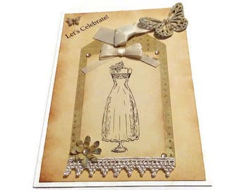 Happy Birthday Card-Let's Celebrate Card-Antique Card-Rustic Card-Ribbon-Lace-Dress Card-Butterfly-Rustic Flowers-Dress Silhouette-Shabby