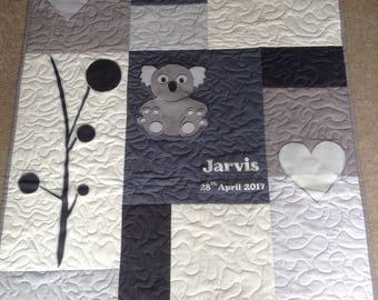 Handmade, Personalised Koala Grey and Cream Baby Quilt, Play Mat, Throw