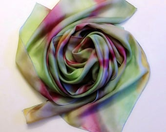 Silk scarf in magenta and green