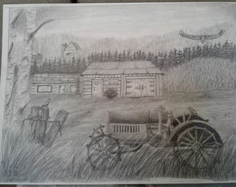 On The Farm Pencil Drawing