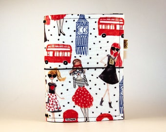 CUSTOM Fabric Traveler's Notebook. Fabric Dori. Fauxdori Cover. Planner Cover. Fabric Midori. Fabric Journal Cover. London Fashionistas.