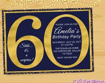 60th Birthday Invitation, Gold Invitation,  Gold Glitter Birthday invite, Gold Birthday Invitation, Digital file 44