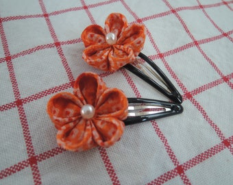 Kanzashi Flower hair snap clips (set of 2)