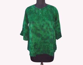 Bohemian Bottle Green color embroidered Blouse
