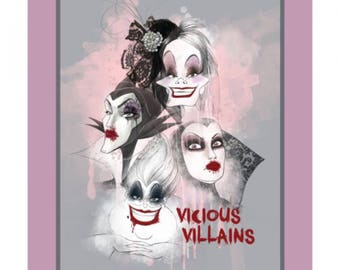 Disney Villains Fabric Panel, Vicious Villains, Disney Panel, Cotton Woven, TheFabricEdge