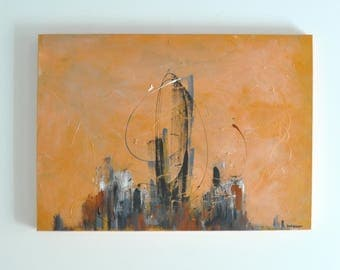 Modern Copper Abstract Acrylic Painting