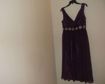 Purple Chiffon Dress With Acrylic Flowers