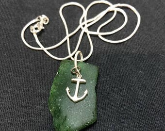"""18"""" Maine Sea Glass Sterling Silver Necklace"""