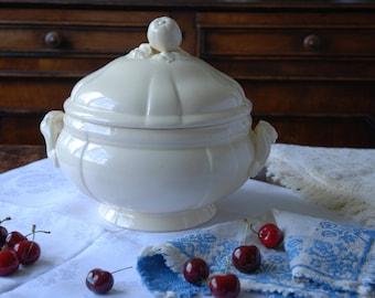 Large French Ironstone Tureen. Sarreguemines. Off-white. Soupière. Creamware.