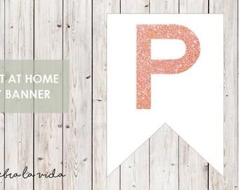 DIY Banner - 'P'. Instant Download. Printable Banner Letters. Pink Glitter. - 01