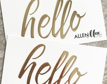 100 Gold Business Cards • Raised/Embossed Foil Metallic on Thick Suede Finish Cardstock