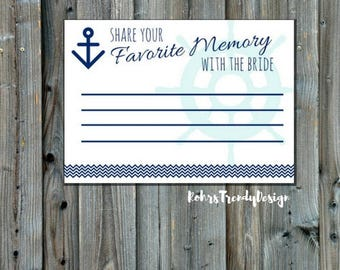 Instant Download- Nautical Bridal Shower Game- Share Your Favorite Memory With The Bride- Blue and Teal