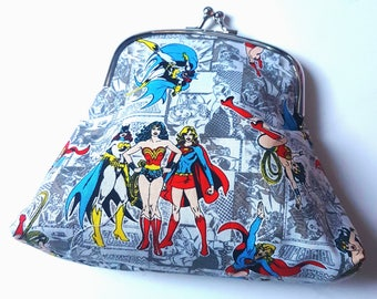 Bat Girl, Wonder Woman, and Super Girl Clutch Bag