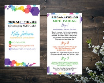 PERSONALIZED Rodan and Fields Business Cards, Rodan and Fields Mini Facial Card, Fast Personalized, Modern Business Cards RF17