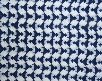 Hand block print fabric, Color : Indigo,Style-Zigzag , 1 Yard