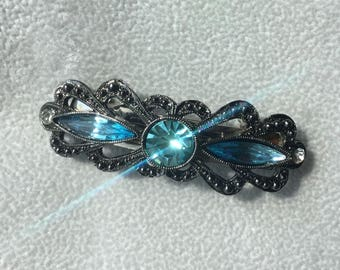 Vintage French Barrette Blue Crystal small jeweled barrette wediing hair accessory