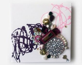 "Original Artwork 8x8 Jewelry on gallery canvas ""Bike Ride"""