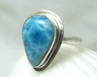 Natural Larimar exceptional quality Sterling Silver Ring Sz 7