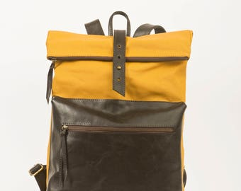Canvas backpack with leather details - backpack - genuine leather - leather - leather bag - waterproof - yellow - mustard yellow - Messenger - Messenger