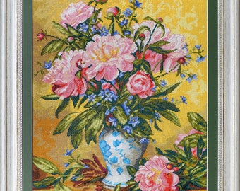 Peony bouquet, Albert Williams, Handmade Completed Cross stitch,Embroidered decor, Cross stitch Wall art, Gift woman, Мother, Textile decor.