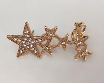 Shooting Star Ear Climber //Gold Rhinestone Star Cluster// Ear Crawler// Ear Jacket// Ear Climber
