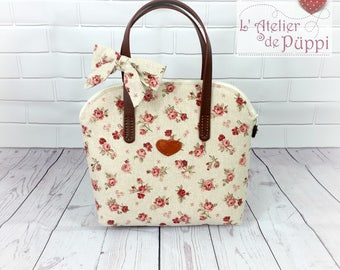 Handle bag - DOTTI - roses - ecru