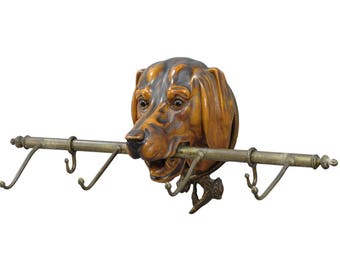 black forest carved wood staghound head as lead holder