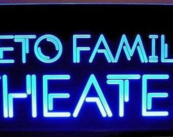 Custom LED Sign - Edge Lit - Bottom Lit - Horizontal Font - Home Theater Decor