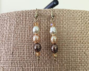 Bronze-tone irregular-shaped glass pearls and amber faceted glass beads earrings