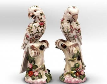 French G&C Stamped Double Parrot Figurines