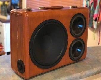 Bluetooth Wireless/Rechargeable Vintage Suitcase BoomBox
