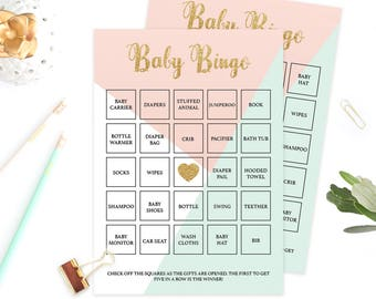 Pink and Mint Baby Bingo Cards Baby Shower Bingo Cards Baby Shower Bingo Printables Baby Shower Games Printable Baby Shower Card Digital GP1