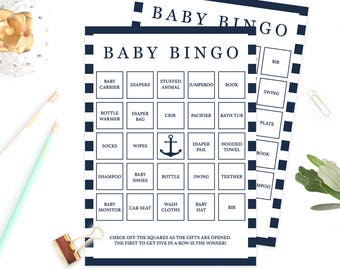 Baby Shower Games Printable Boy Nautical Baby Bingo Cards Navy Baby Shower Printables Baby Bingo Boy Anchor Baby Bingo Prefilled Cards NS1